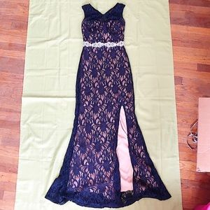 Cut out back Navy blue prom dress